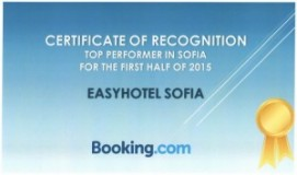 easyHotel Sofia - Cerificate from Booking.com
